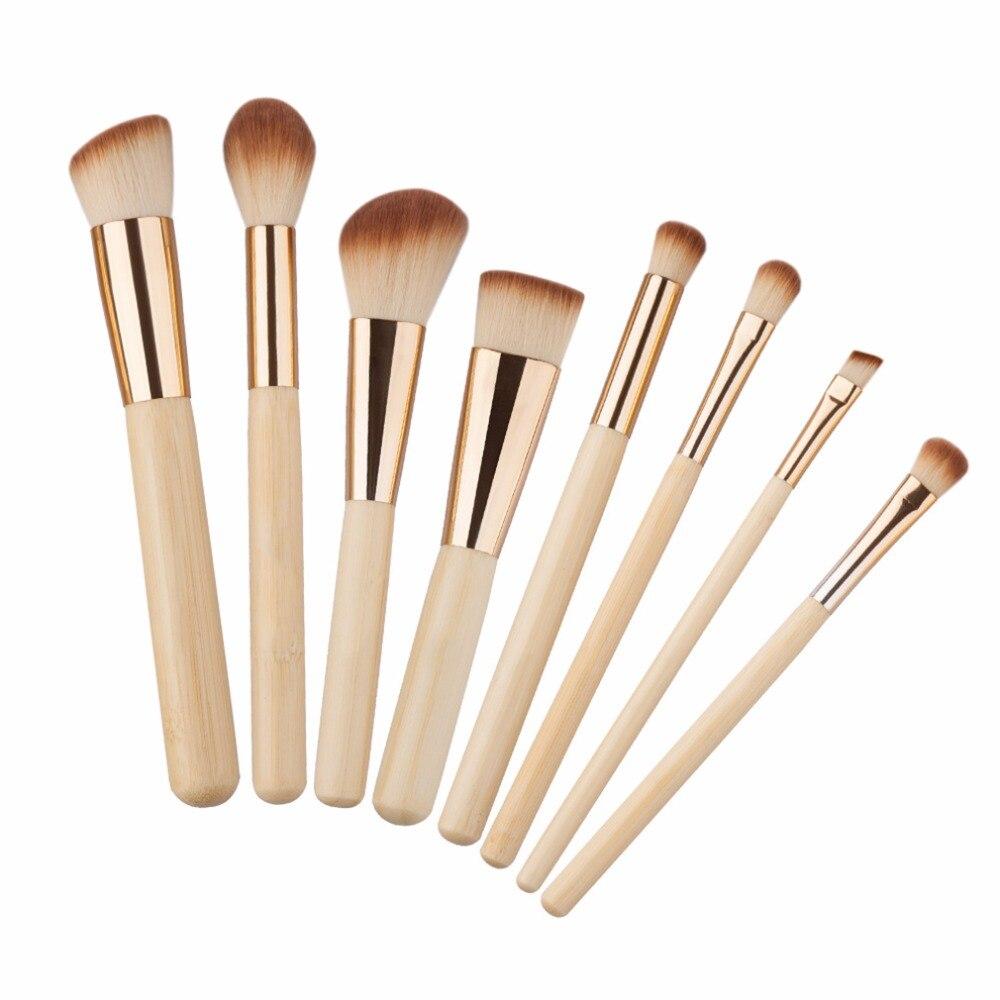 Pro 8 Pcs/ensemble Bambou Poignée Maquillage Pinceaux kits Poudre Fondation Sourcils Visage Multifonction Brosses Beauté Maquillage Outil Pop