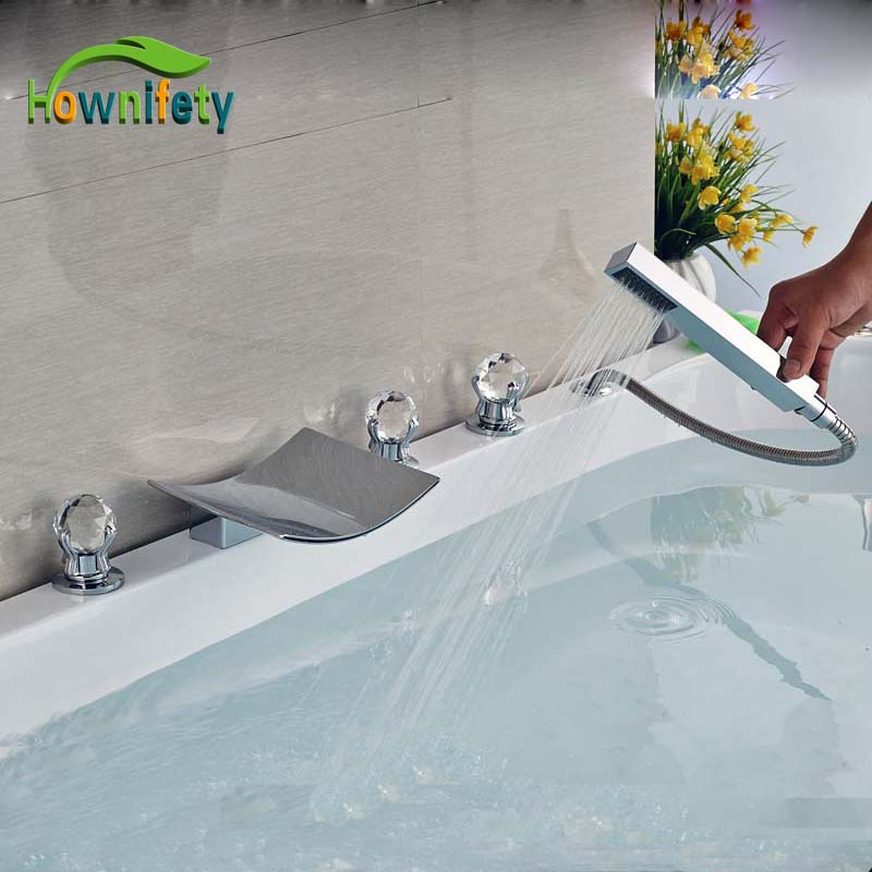 New Arrival Chorme Finish 5pcs W/Hand Shower Deck Mounted Waterfall Tap Mixer new arrival c w 5 25g 4m 5m 99