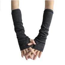 Kobiety ciepła wełniana dzianina rękawiczki bez palców zimowe rękawiczki z dzianiny pół palca rękawiczki mankietowe długie rękawiczki damskie rękawiczki bez palców tanie tanio Dla dorosłych COTTON Poliester Stałe Elbow Moda