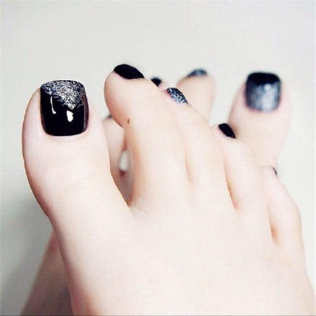 New Fashion Black Glitter Toe Nail Sticker Decal Water Transfer ...