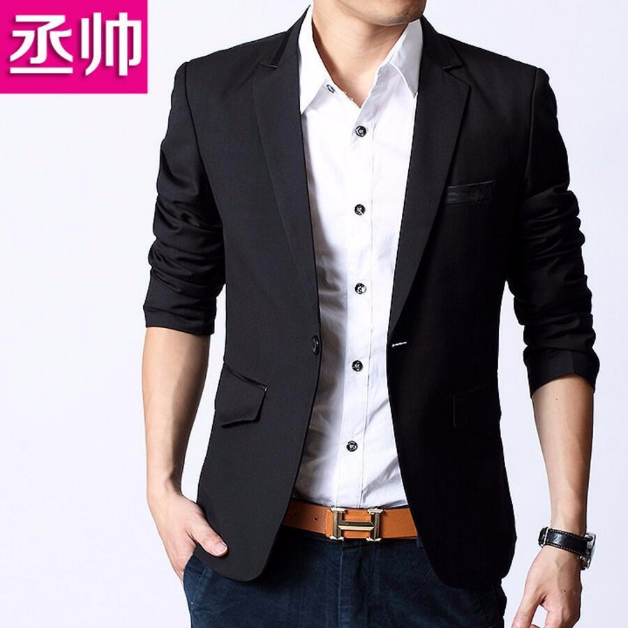 16.1 Fashion Korean Slim Fit Man Suit Jacket Men\'s Clothing Slim Style Suits Jean Black Business Sweatshirt High Quality