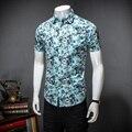 2017 новый стиль отдыха моды для мужчин короткий рукав рубашки мужские высокое качество маленький сломанный цветок мужские рубашки Бесплатно доставка