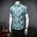 2017 new style leisure fashion men short sleeve shirts Men's high quality small broken flower men's shirts Free shipping
