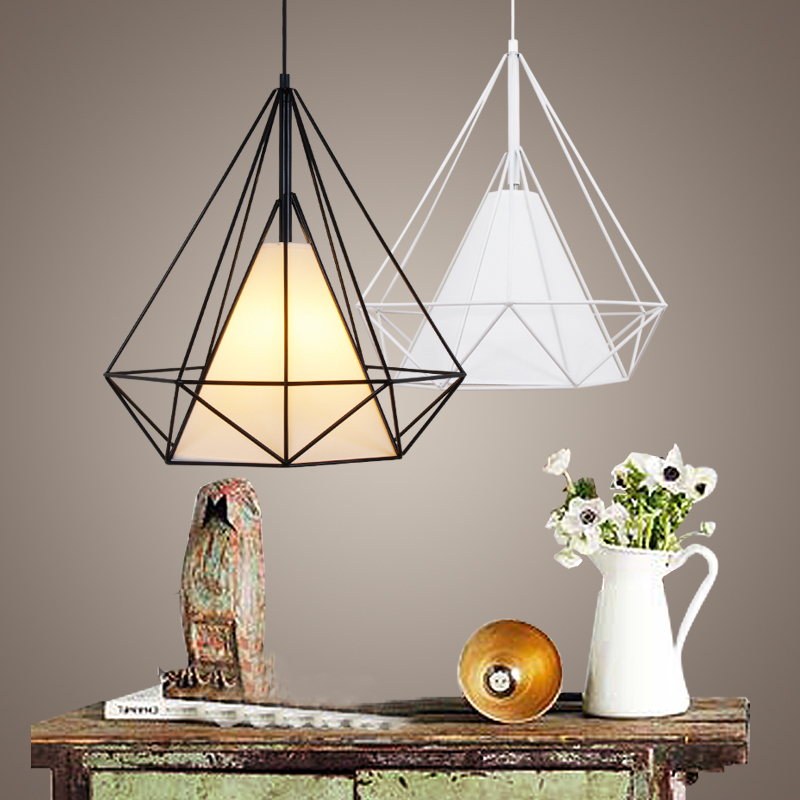 Modern Art Pyramid Nordic Iron Diamond Pendant Lights,Black/white dia 38CM Birdcage Pendant lamps Home Decorative Light Fixture