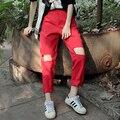 Spring Korean Women's Personality Knee Hole Haren Pants Loose Straight Legged Pants