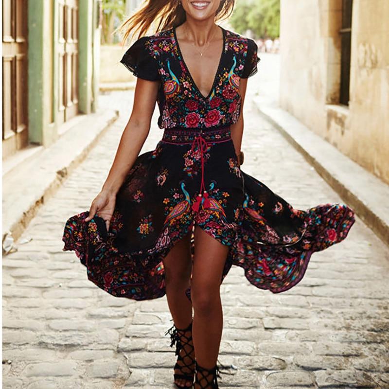 Lady Floral V-Neck Chiffon Long Dress Bohemian Evening Party Beach Boho Sundress Plus Size:S-5XL