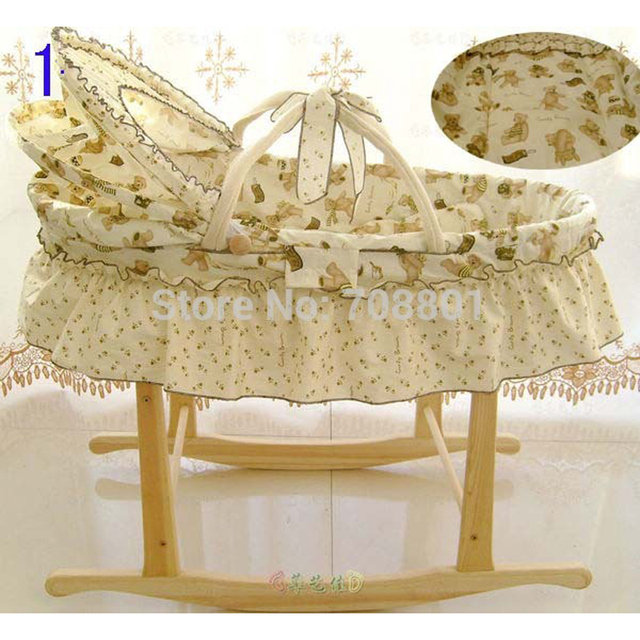 Corn Husks Cradle No Paint Wood Frame Cotton Baby Bassinet  Mosquito Net