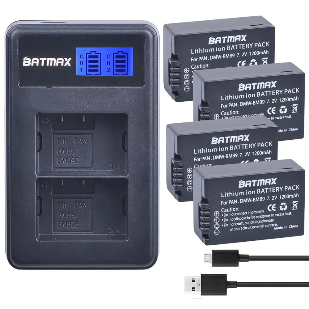 4pcs DMW-BMB9 DMW-BMB9E DMW BMB9 Battery + LCD Dual USB Charger for Panasonic Lumix DMC FZ40K FZ45K FZ47K FZ48K FZ60 FZ70 FZ100