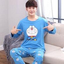Купить с кэшбэком Yidanna pajamas set for men sleepwear cat animal prints nightwear winter long sleeved nightie male plus size pyjamas autumn suit