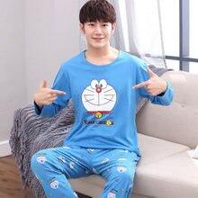4367f51646 Yidanna conjunto de pijamas para hombres ropa de dormir gato animal huellas  pijamas de invierno de manga larga camisón hombre pl.