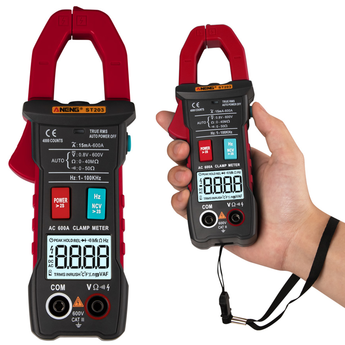 ANENG <font><b>ST203</b></font> Digital LCD Clamp Meter Multimeter 4000counts 3/4-Digit Automatic Digital Instrument DC/AC Clamp Meters Voltmeter image