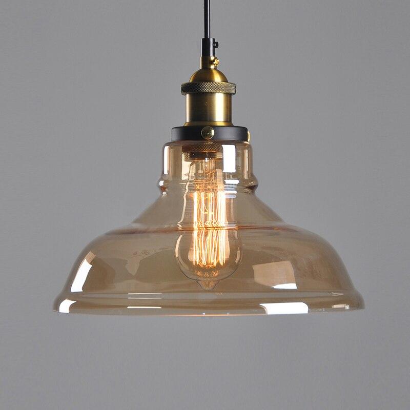 E27 американский кантри ретро Винтаж Стекло абажур подвесной светильник Стекло лампы для бар магазин одежды подвесной светильник люстры све...