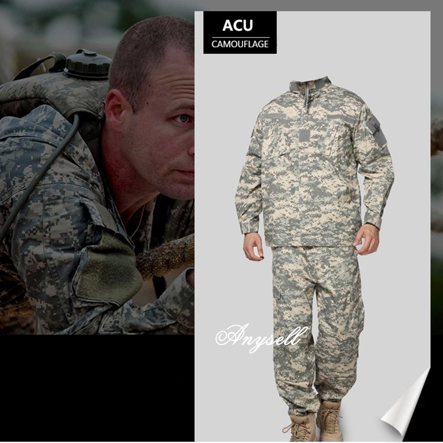 Army military tactical cargo pants uniform waterproof camouflage tactical military bdu combat uniform us army men clothing set 2