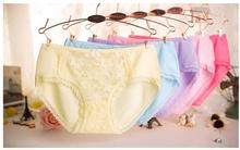 Free Shipping 2016 Newest Women's Comfortable Panties Panty Briefs Underwear Intimates Bamboo Fiber Sexy Lace Colors Panty