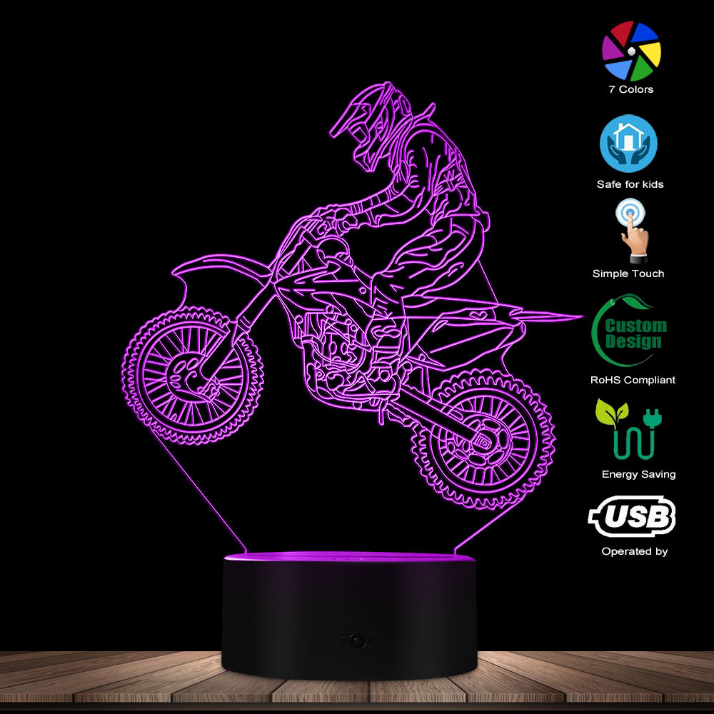 Dirt Bike 3D Illuminated Display Desk Lamp Motorcross Bike Modern Illusion Night Lights Gift For Freestyle Motorcross Bikers
