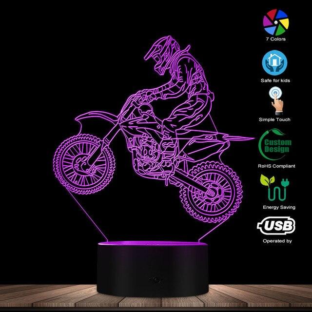 Dirt Bike 3D affichage lumineux lampe de bureau moto cross vélo moderne Illusion veilleuses cadeau pour Freestyle motocross motards