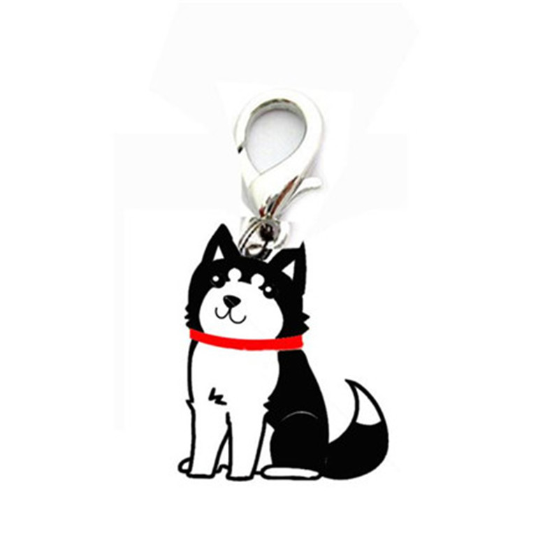 Mini cute black Siberian Husky design pendant tags pet dog supply collar hanging identity item signs for small cat puppy