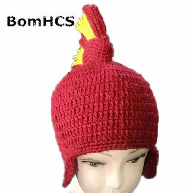 2c204bbda Funny Knight Helmet Beanie with Beard Mask Gift Hat Handmade Knitted Winter  Thick Cap