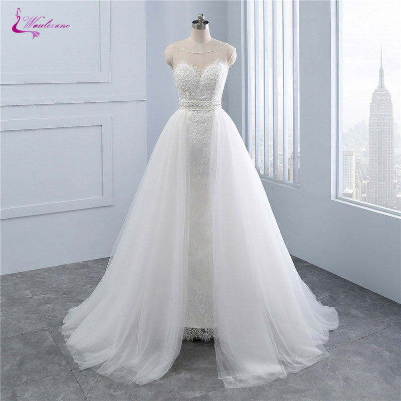 b1fc80c3ac2b Waulizane Charming Appliques Lace Scoop A Line Wedding Gowns 2 In 1  Detachable Train With Beading Sash Wedding Dresses Plus Size