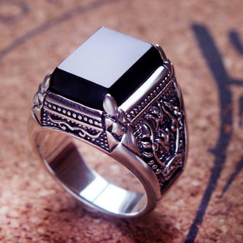 Zabra real 925 prata anel de zircão preto para os homens do sexo feminino gravado flor moda prata esterlina thai jóias sintético ônix