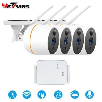 Wetrans-Sistema de videovigilancia Wifi, cámara de seguridad para exteriores, Kit de CCTV inalámbrico, 4 canales, Mini NVR 1080P, Audio, cámara de vigilancia
