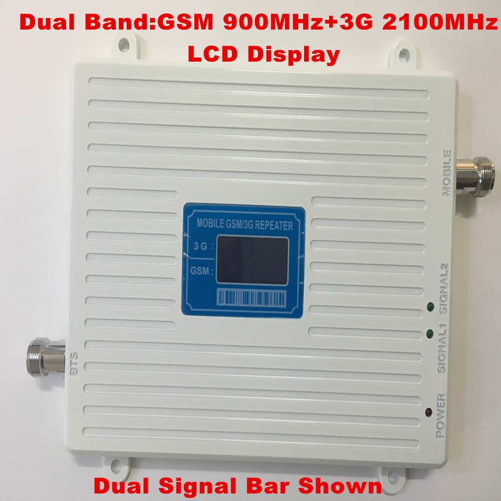 LCD Display !!! Dual Band GSM 900Mhz W-CDMA 2100MHz 3G Mobile Phone Signal Booster 2G 3G GSM Celular Signal Repeater AmplifierLCD Display !!! Dual Band GSM 900Mhz W-CDMA 2100MHz 3G Mobile Phone Signal Booster 2G 3G GSM Celular Signal Repeater Amplifier