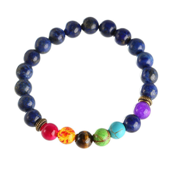hot sell Natural Dyed Lapis Lazuli Stone Beads 7 Chakra Healing Balance Bracelete Feminino Lava Yoga Reiki Prayer 8mm Bead
