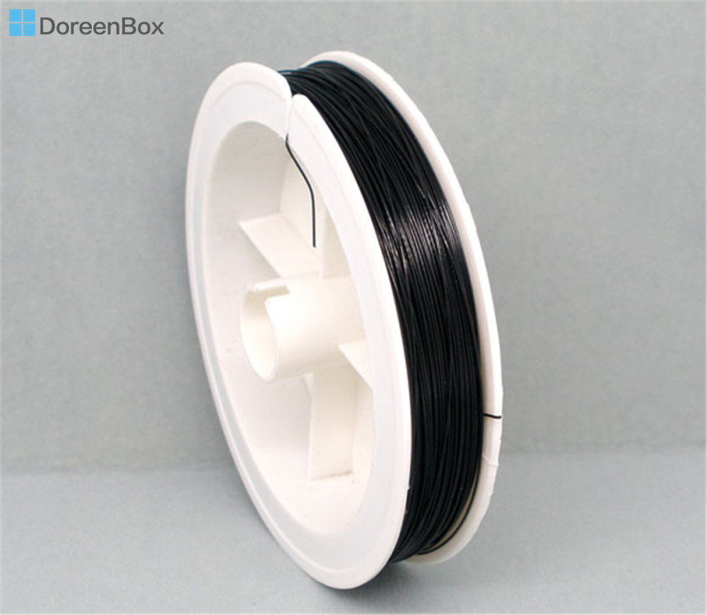 Doreen Box Lovely 1Roll 80M Black Beading Wire Tiger Tail 0.38mm (B04933)