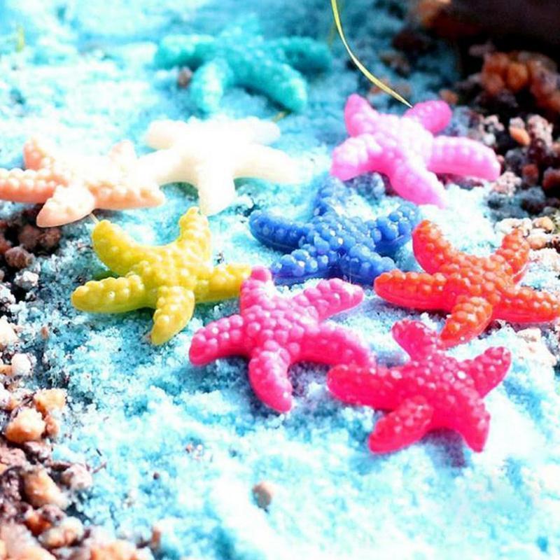5 Pcs/20Pcs Resin Cute Miniature Starfish Fish Tank Landscape Aquarium Ornaments Decor Special Small Starfish Flat-bottomed Dril