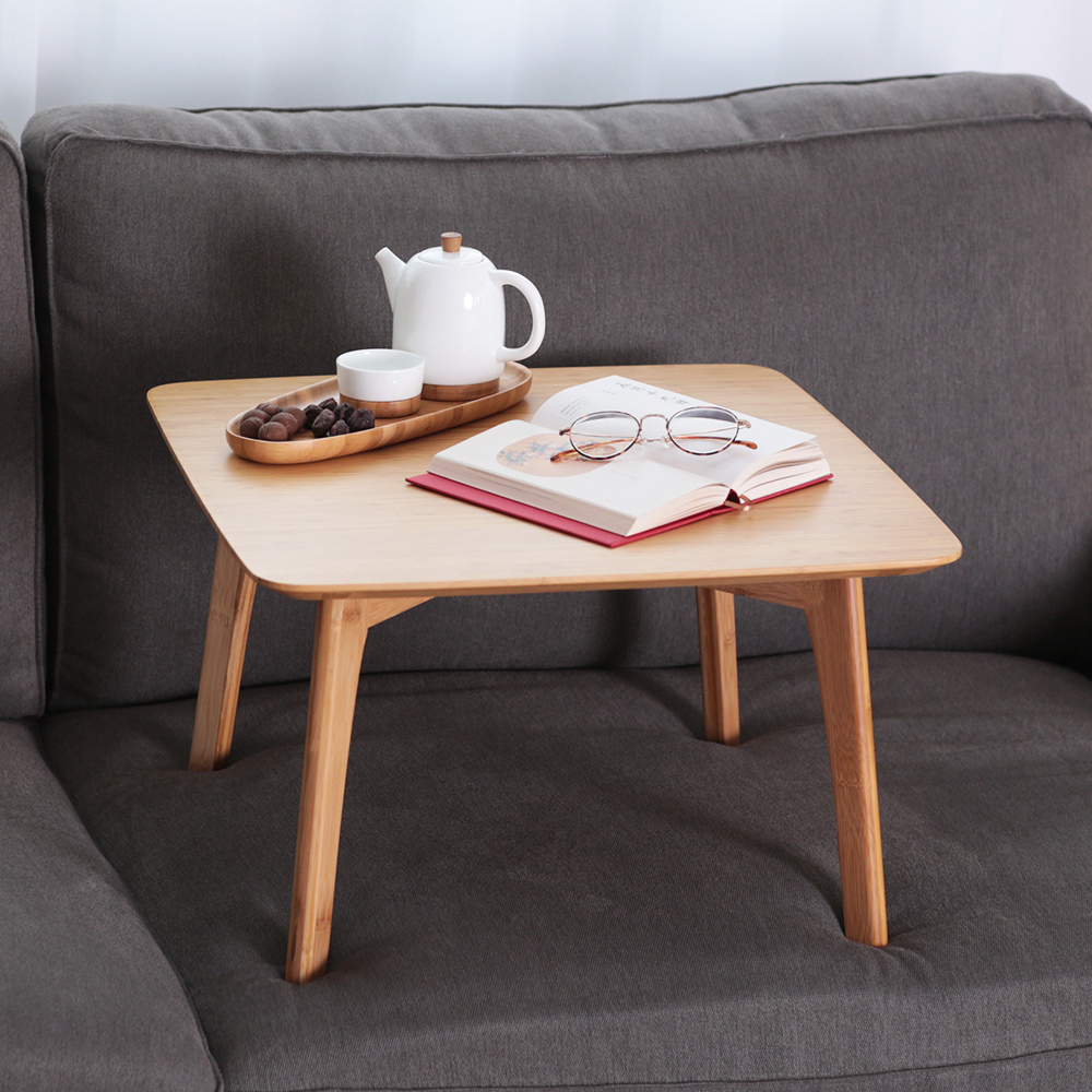 Small Table Square Coffee Table with 2 Cushion and a Storage Basket