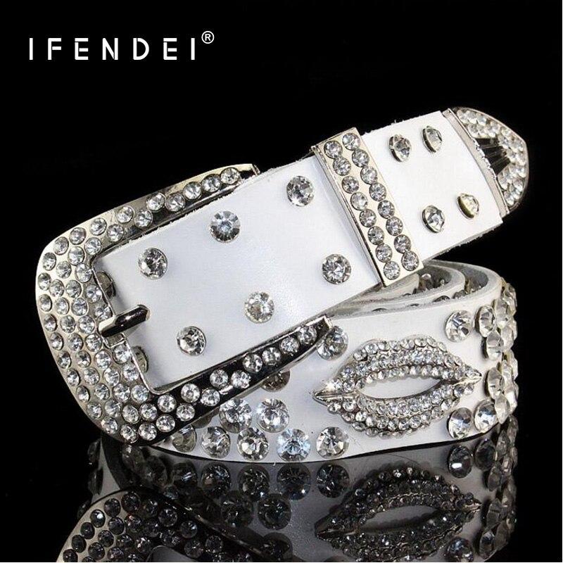 IFENDEI Genuine Leather Belts Fashion Sexy Lips Belt Women s Casual Pin Buckle Rhinestone Shiny Leather