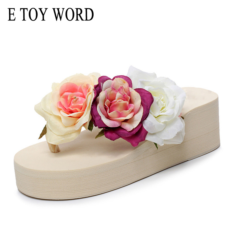 E TOY WORD Summer Fashion Roses Flower Wedge Platform Flip Flops Woman Shoes High Heels Beach Sandals Ladies Thick High Pantufas lanshulan bling glitters slippers 2017 summer flip flops platform shoes woman creepers slip on flats casual wedges gold