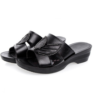 Image 4 - GKTINOO Women Slippers Shoes Genuine Leather Casual Slides Women Summer Shoes Retro Solid Mother Shoes Wedges Flip Flops