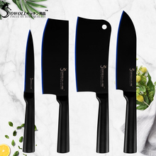 Sowoll Chef Kitchen Knife Non-stick Coating 4Cr14mov Stainless Steel Santoku Chopping Nakiri Utility Cooking Accessories
