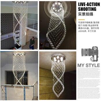 LED Wohnzimmer Kristall Ausgesetzt Lampen Moderne Hotel Halle Anhänger Lichter Treppen Große Leuchten Restaurant Hängen Beleuchtung
