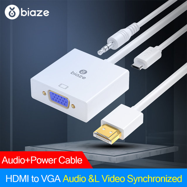 Biaze HDMI to VGA Adapter 1080P Digital to Analog Video Audio Converter HDMI Cable for Xbox 360 PS3/4 PC Laptop TV Box Projector