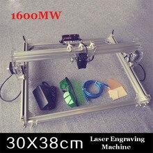 Бесплатные DHL 1 ШТ. 1600 МВТ DIY лазерный гравировальный станок, 1.6 Вт лазерной гравировки машина, diy лазерной гравировки машина