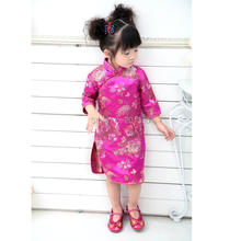 2017 Three Quarter Baby Girl Summer Dress kid clothing Embroidery Floral Traditional Chinese Cheongsams Qipao for Party New Year