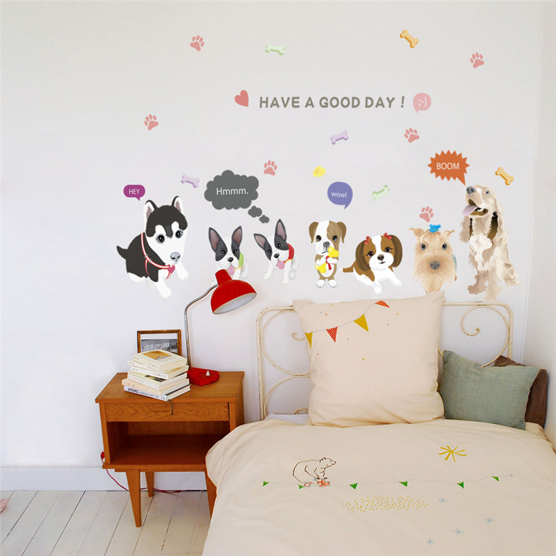 Lovely Dog Family Heart Wall Stickers For Kids Rooms Home