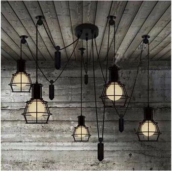 Vintage industrial Nordic Loft Edison Bulb Chandelier Retro Ceiling Spider Pendants Antique Adjustable E27 indoor Art Lights