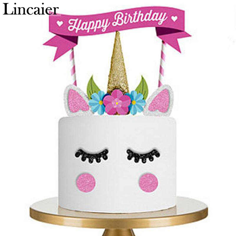 Lincaier Rainbow Unicorn Cake Flag Topper Birthday Party Decorations Kids  Supplies My Little Pony Birthday Party Baby Girl DIY