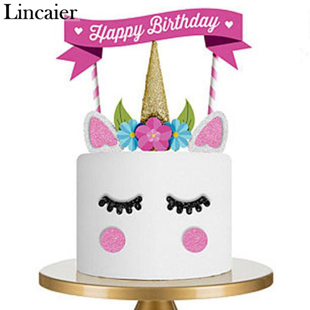 Lincaier Rainbow Unicorn Cake Flag Topper Birthday Party Decorations Kids Supplies My Little Pony Baby Girl DIY