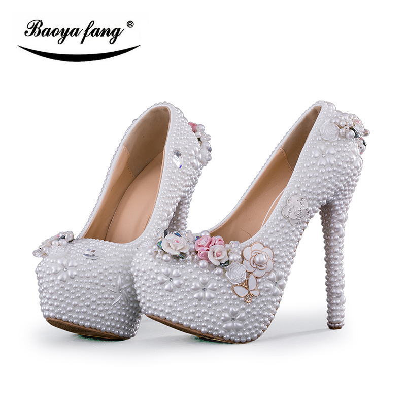 BaoYaFang white beads Flower women wedding shoes platform shoes 8cm/11cm/14cm high shoes fashion woman ladies Pumps женские пуховики куртки winter thick down coat xq746 new warm parka