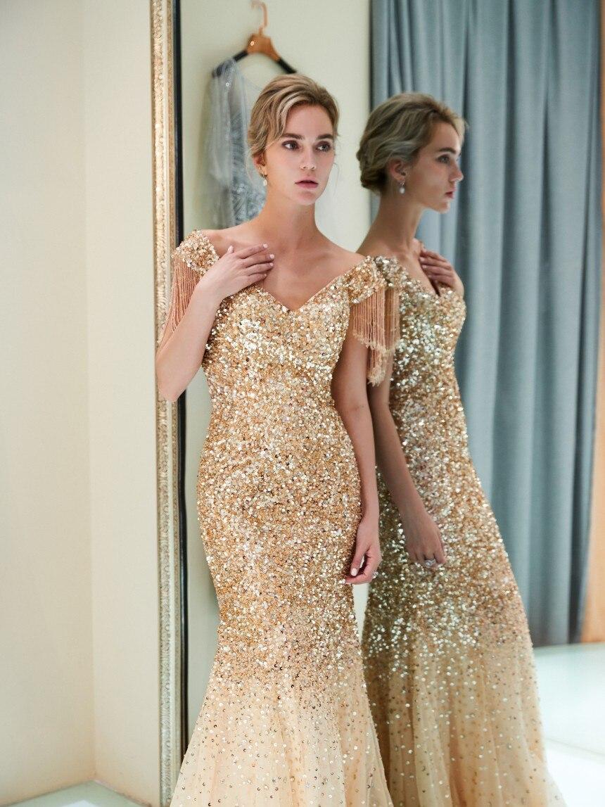 Luxury Sexy Mermaid Evening Dresses 2019 New Beaded Crystals Illusion Formal Party Gowns Vestido De Festa