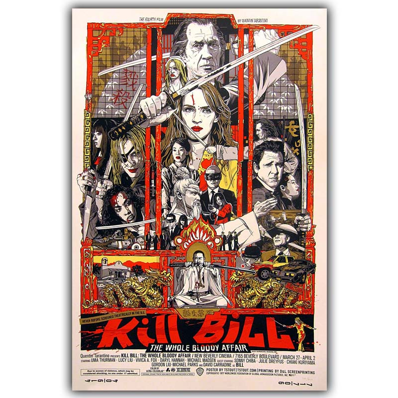 Movie Poster Quentin Tarantino Kill Bill Print on Silk Home Decoration  DY504