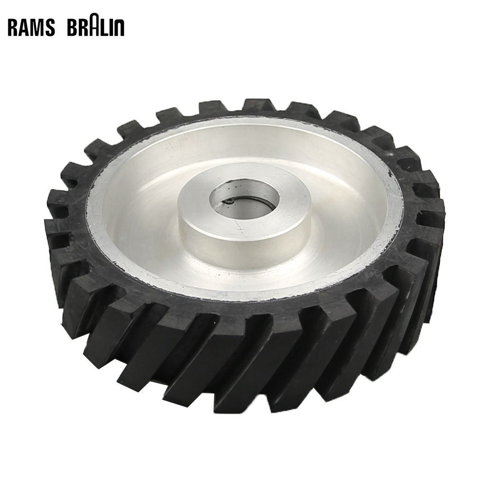 200*50mm Serrated Rubber Contact Wheel Belt Sander Polishing Wheel Abrasive Belts Set