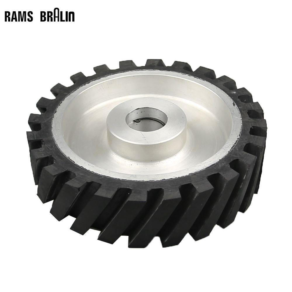 200*50mm Serrated Rubber Contact Wheel Belt Sander Polishing Wheel Abrasive Belts Set