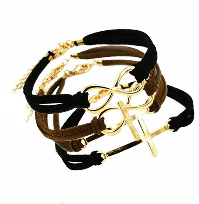 New Arrival Womens Charm Bracelets Gold Cross Anchor Infinity Symbol