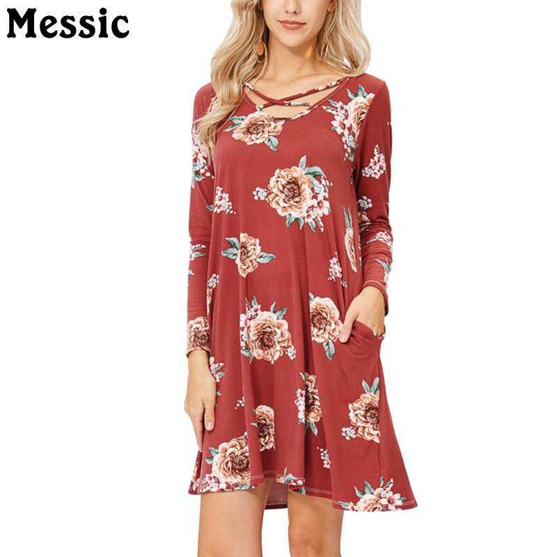 Messic Casual Loose Mini Floral Dress Women 2018 Autumn Long Sleeve Knitted Robe Femme Cross O Neck Daily Party Ladies Dresses knitted pockets women sweater mini dress v neck long sleeve dresses autumn winter 2018 loose robe femme plus size gv063