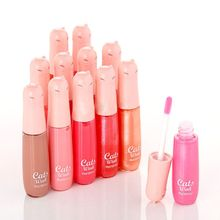 New 12 Colors Women's Charm Make Up Lip Gloss Cartoon Cat Lid Liquid Lip Tint Cosmetics WD2